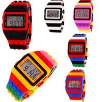 Wholesale Shhors Led - Rainbow Multicolor Bricks LED Wristwatch SHHORS Fashion Rubber Digital Sports Week Night Light Waterproof Plastic Jelly Candy Watches