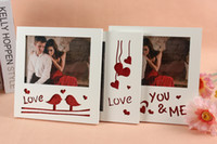 Wholesale Frames 5x7 - Romantic Heart Love Birds Design Wooden Photo Frame White 5x7 Picture Frame for Home Desk Wall Decoration Wedding Favors Gifts