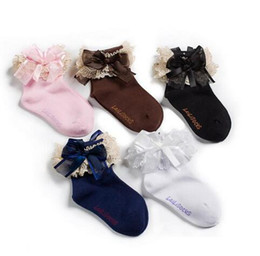 Wholesale Infant Fairy - 2014 New Baby Girls Fashion Ribbon Bow Lace Fairy Socks Ankle Socks Children Lovely Lace Socks Infant Cotton Socks