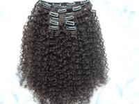 Wholesale New Star Brazilian Hair - wholesale new star brazilian human hair extensions kinky curly clip in hair weaves dark brown color 9 pcs one bundle