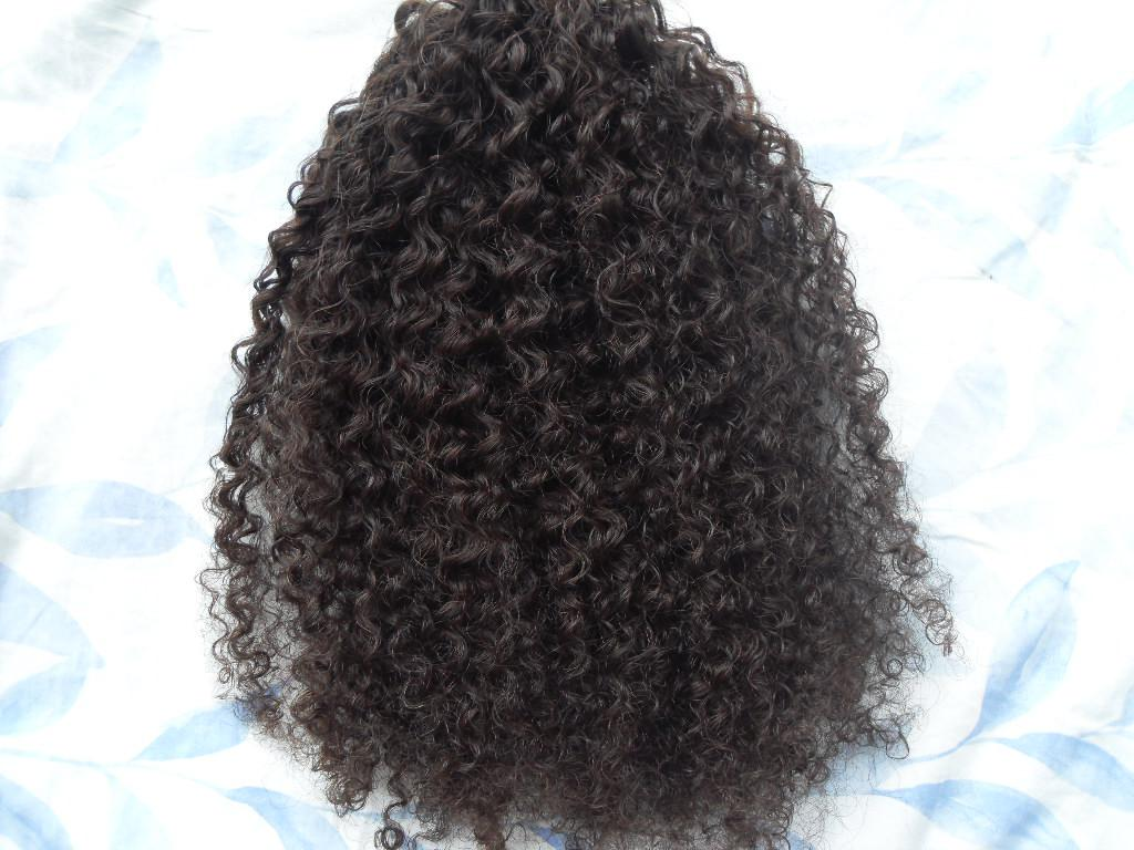 Ny ankomst Malaysia Virgin Afro Kinky Curly Haft Weft Clip i Kinky Curly Dark Brown 2 # Färg Human Extensions