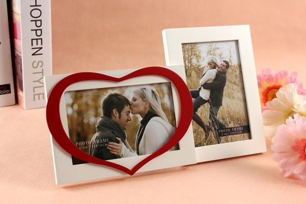 Romantic Heart Design 2 Immagini Wooden Combined Photo Frame Bianco 4x6 per decorazioni per la casa Regali di nozze di San Valentino