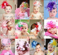 Wholesale Headband Hair Flowers Topbaby - 20pcs TOPBABY children feather bows flower knit headband hair clip hair accessories kids,baby girls headband flower