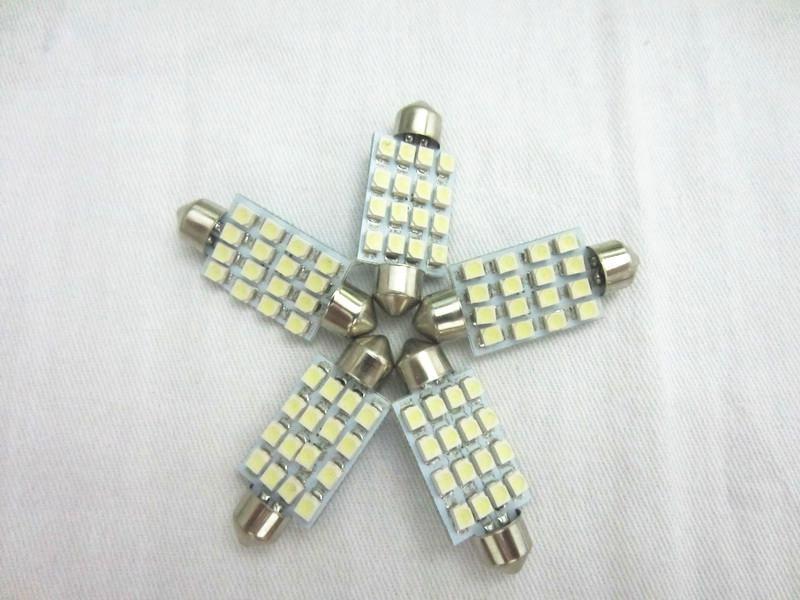 20pcs 41mm 3528 16SMD LED lumière de lecture de voiture dôme festoon intérieur ampoules auto voiture feston LED toit lumière