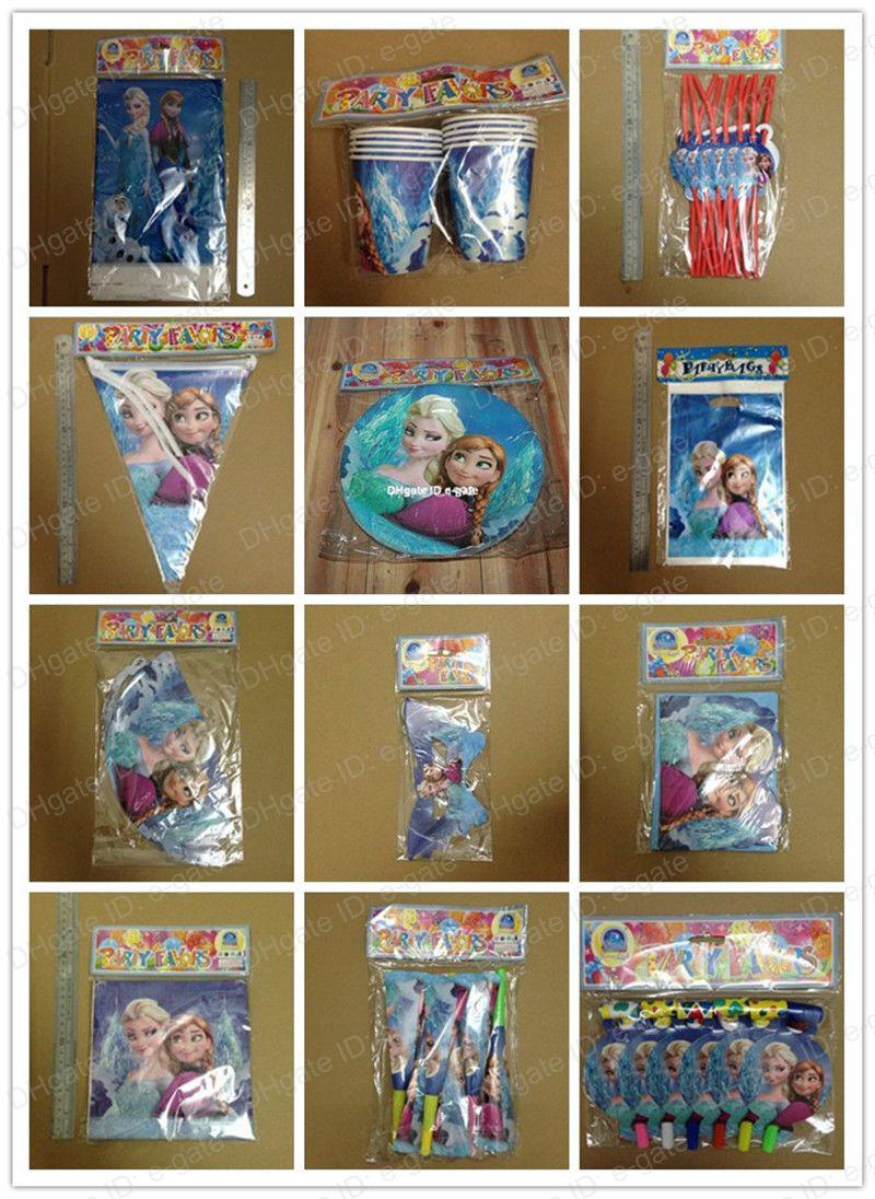 Frozen Kids Birthday Party Supplies Decoration Plates Cups Straws Napkins Gift Bags Caps Pennant Mask Table Cloth Hat Blow out for 12 People Frozen Party ... & Frozen Kids Birthday Party Supplies Decoration Plates Cups Straws ...