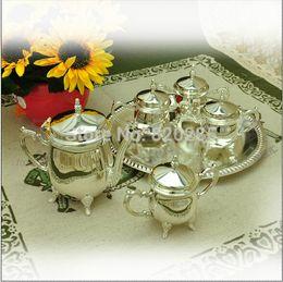 Wholesale European Tea Coffee Sets - Free shipping high quality European style shiny silver finish coffee set, 1 set= 1 plate+1 pot+ 4 sugar jars, metal tea set wine set