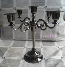 Wholesale Sticks For Wedding - Free shipping Black color 5-arms candelabra for wedding or events, 27cm height metal candle holder, Christmas candle stick