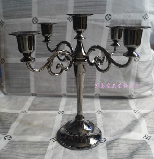 best selling Free shipping Black color 5-arms candelabra for wedding or events, 27cm height metal candle holder, Christmas candle stick