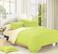 Wholesale White Full Comforter - AA--Home textiles,Green white Polka Dot bedding sets include comforter cover bed sheet pillowcase,linen,bedclothes,Free shipping
