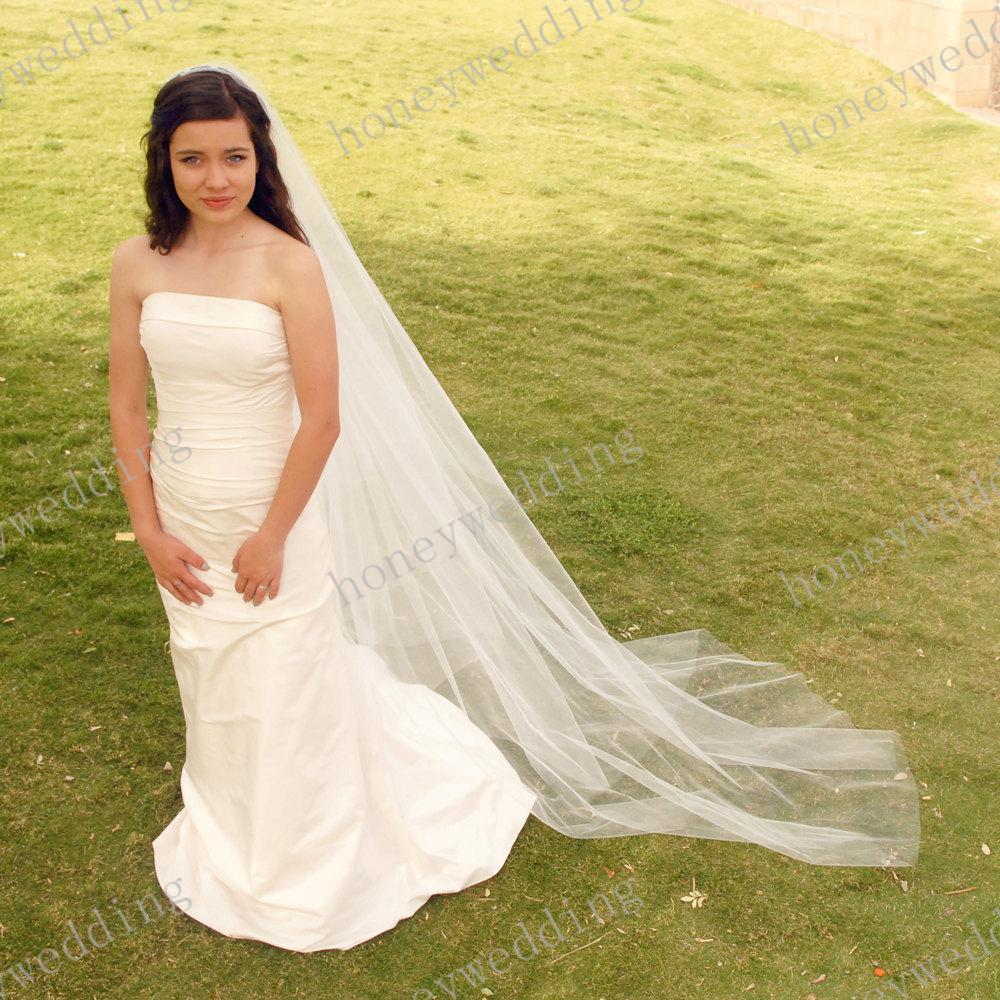 Velo di nozze della cattedrale - velo da sposa - velo da sposa con bordo tagliato liscio - Semplice velo da sposa DH7497 1,5 m di larghezza 2,5 m