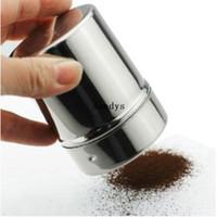 şeker ufalayıcıları toptan satış-Paslanmaz Çikolata Shaker Araştırmak Buzlanma Şeker Tozu Kakao Unu Kahve Elek # 52615, dandys