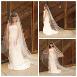 Wholesale Long Red Cathedral Wedding Veils - Cathedral Wedding Veil - Bridal Veil - Drop Veil with Smooth Cut Edge - Simple Wedding Veil DH7497 1.5m wide 2.5m long