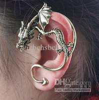 Wholesale Cheap Halloween Earrings - Cheap Retro Earring Ear Cuff Gothic Dragon Style Silver Bronzed Color Mix 24PCS Lot Free Shipping 0514B2