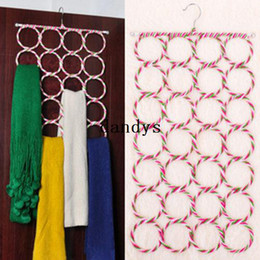 Wholesale Scarfs Holder - Ring Rope 28-hole Slots Holder Hook Scarf Wraps Shawl Storage Hanger Organizer #30458, dandys