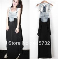 Wholesale New Arrival Women Chiffon Dress - Free Shipping 2015 New Arrival Summer Denim And Layered Chiffon Patchwork Suspenders For Women Long Maxi Jeans Asymmetric Dress pocket dress