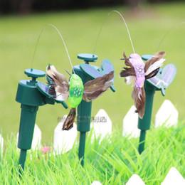 Commercio all'ingrosso - 2014 nuovi colibrì solari studenti giocattoli educativi illuminazione solare battenti svolazzanti farfalle colibrì giardino deco da