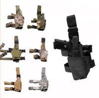 Wholesale thigh pouches - Tactical Outdoor Hunting Puttee Thigh Drop Leg Pistol Gun Pouch Bag Wrap-around Leg Holster Rig HandGun Thigh Elite Swat