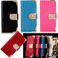 Wholesale S3 Leather Diamond - Luxury Bling Diamond Buckle PU Leather Flip Wallet Case For iPhone 4 5 6 Plus Samsung Galaxy S3 S4 S5 Note 2 3 4 Note4