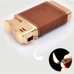 Wholesale Electronic Cigarette Refillable - PU Leather Cigarette Pipe Lighter Flame Refillable Butane Gas Cigar Lighter#54930, dandys