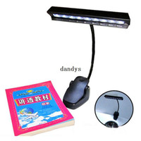 Wholesale Glass Wall Stand - Table Lamp 9 LED Clip Light Orchestra Arm Flexible Music Stand Adapter Book Reading Lamp#50582, dandys