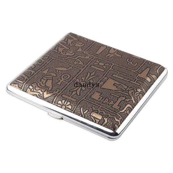 Étui de rangement en cuir Figure en métal titulaire Smoke Pocket 20 Cigar Cigarette Box # 52930, dandys