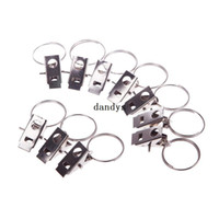 Wholesale Curtain Door Rod - 10Pcs Durable Stainless Steel Window Door Shower Curtain Rod Clips Drapery Rings#54992, dandys