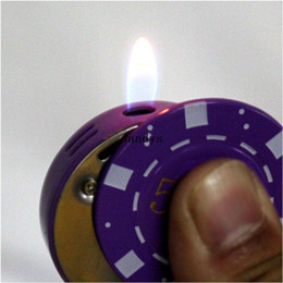 Wholesale Poker Shapes - Novelty Butane Gas Casino Poker Chip Shaped Cigarette Cigar Torch Flame Lighter#55601, dandys