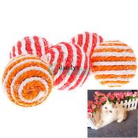 top oyuncak çıngıraklı toptan satış-10 X Pet Köpek Kedi Yavrusu Teaser Chew Oynan Çıngırak Sesi Sevimli Oyuncaklar Sisal Halat Topu # 57661,