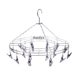 stainless underwear UK - Hot Sale Stainless Steel 20 Clips Underwear Shorts Clothes Socks Drying Home Rack Hanger#55721, dandys