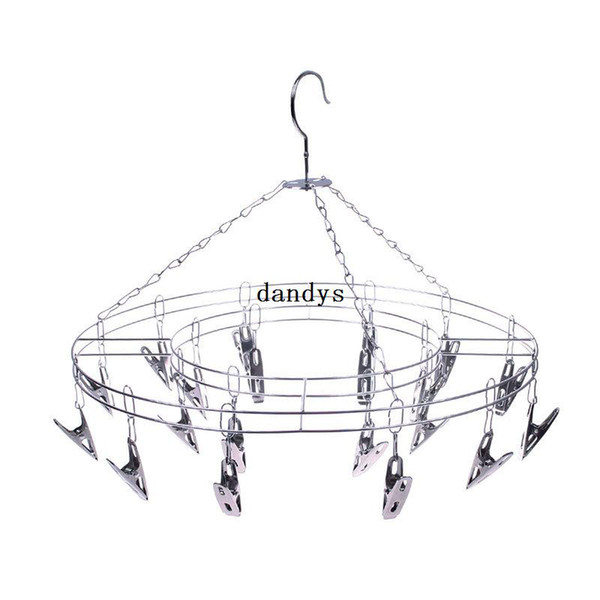 Hot Sale Stainless Steel 20 Clips Underwear Shorts Clothes Socks Drying Home Rack Hanger#55721, dandys