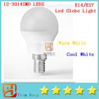 Wholesale E27 12 - Led Globe Light E27 E14 12-3014SMD LEDS 3W Led Lamp 110V-240V Warm White Cool White Enery Saving Good Quality Free shipping 10pcs lot