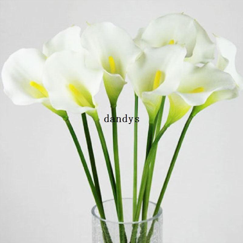 뜨거운 판매 칼라 릴리 웨딩 부케 헤드 라텍스 리얼 터치 인공 꽃 장식 # 50984, dandys