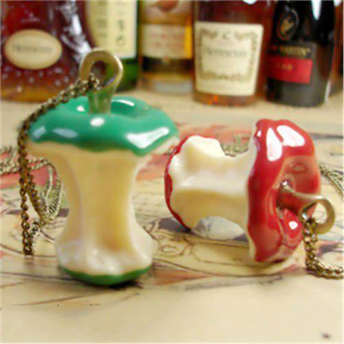 100% moda vintage stile mela verde e rosso colore pendente catena di frutta collana monili di vendita caldi 2014 ls63