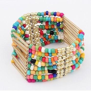 Уникальные различные цвета Богемии этническая мода сладкий элегантный Шарм многослойные бусины браслет заявление ювелирные изделия оптом 2014 LS66