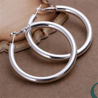 Wholesale Hoop Earrings Diameter - Exaggerated Earings diameter 5cm Hollow 925 Sterling Silver Jewelry Earings Charming women girls Ear hoop Earrings 10pairs lot