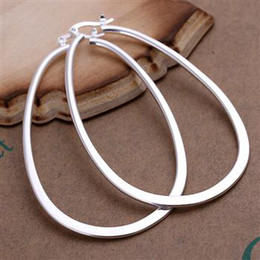 Wholesale Flat Hoop Earrings Canada - Exaggerated Earings 6.8*4.5CM Flat surface U 925 Sterling Silver Jewelry Earings Charming women girls Ear hoop Earrings 10pairs lot