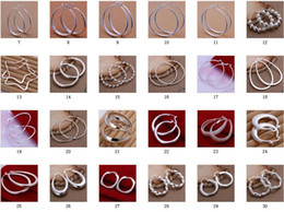 Wholesale Hoop Charms Wholesale - Mix 30 style 925 Silver jewelry Charming women girls Ear hoop Earrings 30Pairs Multi Choices Earrings
