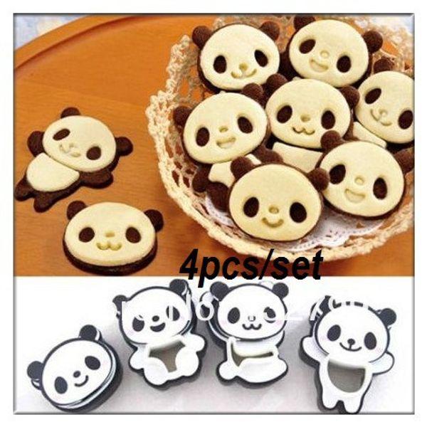 4X Panda Sandwich Cookies Cutter Mould Biscuit Bread Cake Pastry Muffa Sugarcraft Set di strumenti