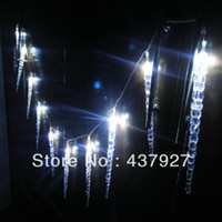 ingrosso luci ghiacciate blu icicles-All'ingrosso-10M 100 LED Clear White / Blue Dripping Icicle Shape Luci di Natale String Lights Christmas Party Decoration corda