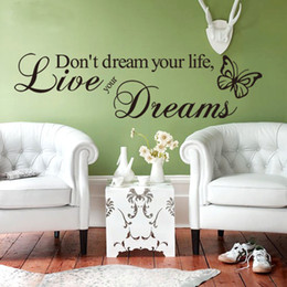 Wholesale Drop Ship Vinyl - Word Live Your Dream Butterfly Quote Wall Sticker Room Decor Vinyl Art Removable Decals Mura Drop Shipping HG-WS-091917