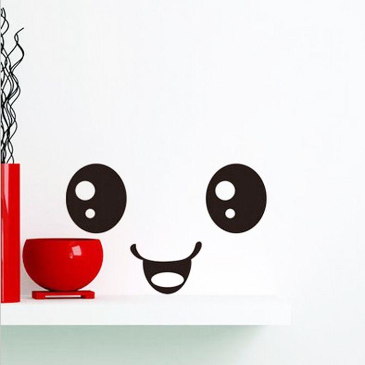 Cute Cartoon Uśmiechnięta twarz ściana Łazienka WC Naklejka Kreatywny Dom DIY Dekoracja Drop Shipping HG-WS-0987