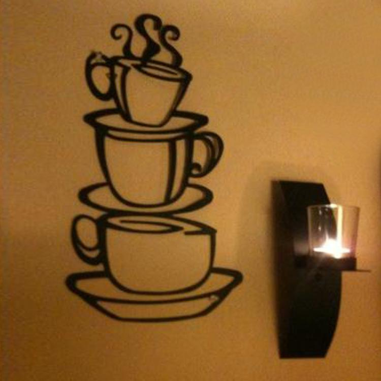 Hot Selling Removable Coffee House Cup Vinyl Wall Art Metal Mug Wall