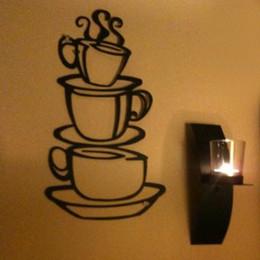 Modern Metal Wall Decor Canada - Hot Selling Removable Coffee House Cup Vinyl Wall Art Metal Mug Wall Sticker Decals DIY Kitchen Decor Drop Shipping HG-061949
