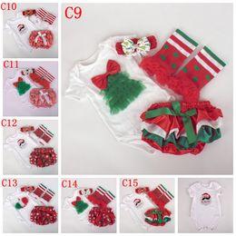 Wholesale Baby Chrismas - Chrismas baby Girls 4pc Set 7 designs u pick size Santa romper & Tutu bloomers & leg warmer lace Ruffled & Bow headband New Year