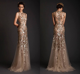 Images Sequin Robes Nues Pas Cher-Luxe Sheer Nude Mermaid Robes de soirée Ellie Saab sans manches Sweep Train Applique Prom Robes Sequins Zipper Back 2014 Prom Dress