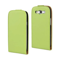 Wholesale Free Galaxy S3 Cases - Wholesale High Quality Genuine Leather Vereical Slim Flip Case Colorful Cover for Samsung Galaxy S III S3 i9300 Free Shipping
