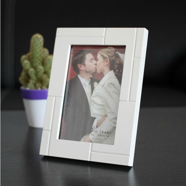 Modern Carved Matrix Design Wooden Photo Frame White 5x7 Picture