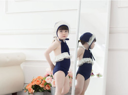 little girl summer hats wholesale 2019 - Summer children swimsuit Ruffles Ruffled Navy Blue baby little girls Swimsuit beachwear Korea Style Swim hat A7175