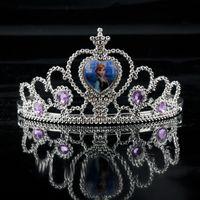 Wholesale Girls Crown Dress - Frozen Elsa Girl Accessory Princess Party Hair Accessories Glitter Queen Girls Crown Dress Decoration Silvery 1704001