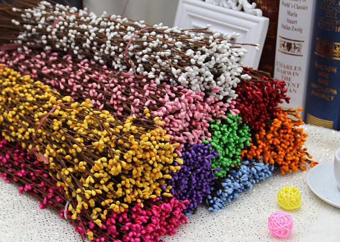 100 unids 40 cm Diy Pretty Pip Berry tallo para Foral Arrangemanet pulsera guirnalda de la boda flor artificial